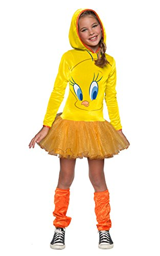 Looney Tune Costumes (Rubie's Looney Tunes Tweety Bird Girls Hooded Costume,)