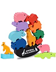 LITTLEFUN Montessori Wooden Dinosaur&Animal Stacking Blocks Balance Game Toys for Toddlers Kids - Best Gift
