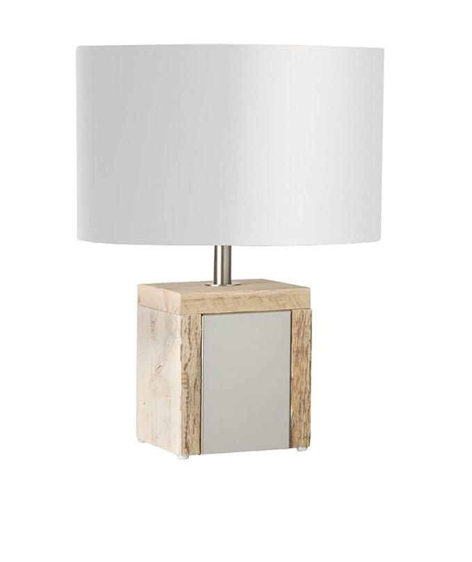 Bony Design lámpara de mesa acero inoxidable con madera de ...