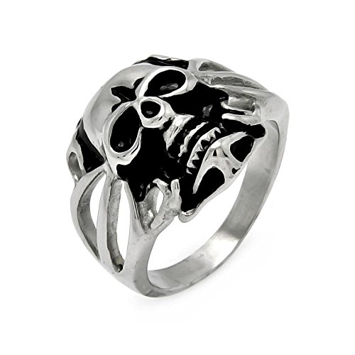 20mm Open Heart Ring - Stainless Steel 20mm High Polish Oxidized Open Band Skull Heart Design Fashion Ring for Men - Size 13