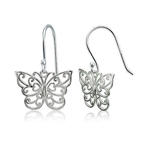 Polished Filigree Butterfly Dangle Earrings ()
