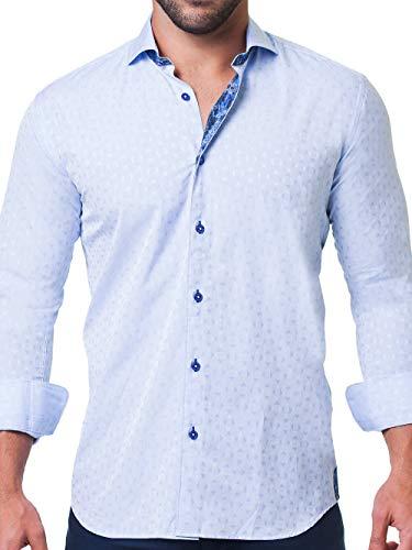 Maceoo Mens Designer Dress Shirt - Stylish & Trendy - Einstein Crosswise Blue - Tailored Fit (Shirt Cotton Italian Dress Collar)