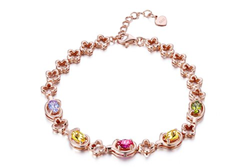 Frola Gold-Plated 925 Sterling Silver Colour AAA Zircons Rose Gold Bracelet Jewelry, Woman Fashion Gift