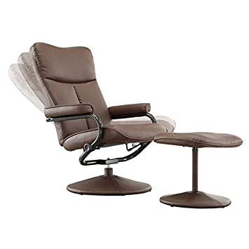 Bonded Leather 360 Swivel Reclinable Chair With Bonded Leather Ottoman  Includes Our Exclusive Mousepad (Brown