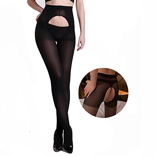 Crotchless Warm Pantyhose For Women, Control Top Opaque Tights, Open Crotch Tights For 120D