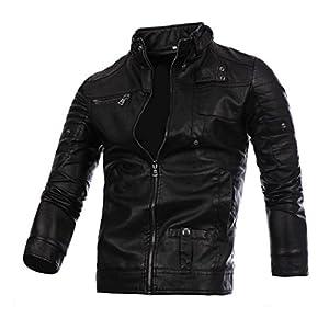 IEason Men Top, Men Leather Jacket Autumn&Winter Biker Motorcycle Zipper Outwear Warm Coat (L, Black)