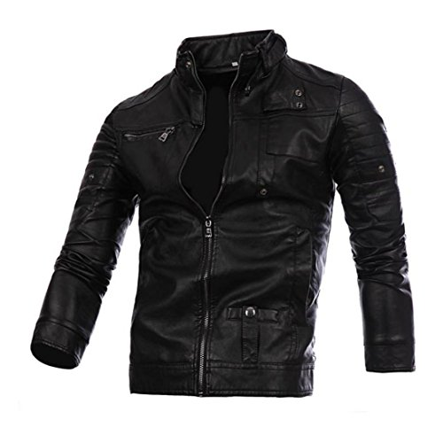 IEason Men Top, Men Leather Jacket Autumn&Winter Biker Motorcycle Zipper Outwear Warm Coat (L, Black)