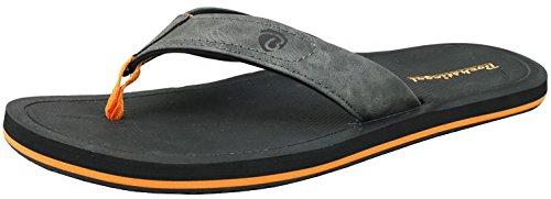 BOCKSTIEGEL Chanclas para hombres y mujeres | Varios diseños | Zapatillas de ducha | Suela antideslizante STEFAN - Negro / Naranja