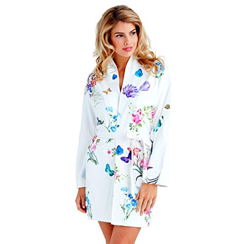 Wrap Up by VP Wonderland Butterflies and Flower Microfiber Short Robe, S/M White