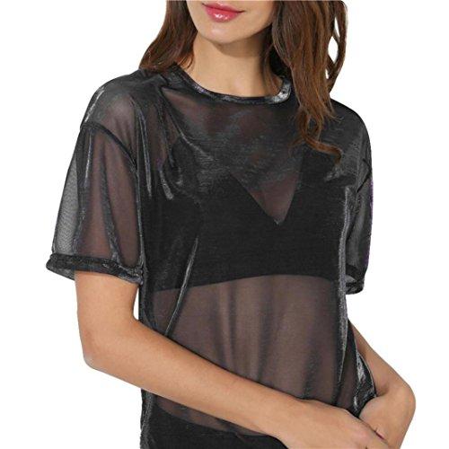 Summer Women's Mesh Cover Up Glitter Sheer See Through Short Sleeve Tops Blouse (L, Black A) (Print Glitter Top)