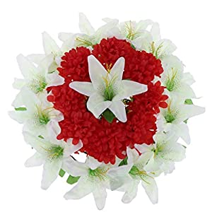 Grave Flower Wreath Artificial Lily Chrysanthemum Flower Wreath Cemetery Grave Memorial Flower Wreath - Red White 65