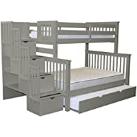 Bedz King Stairway Bunk Beds Twin over Full with 4 Drawers in the Steps and a Full Trundle, Gray