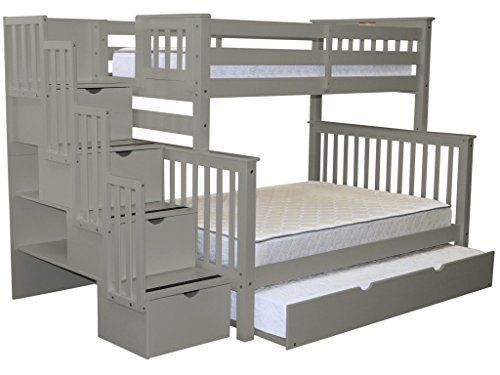 Bedz King Stairway Bunk Beds Twin over Full with 4 Drawers in the Steps and a Full Trundle, (Twin Over Full Stairway)