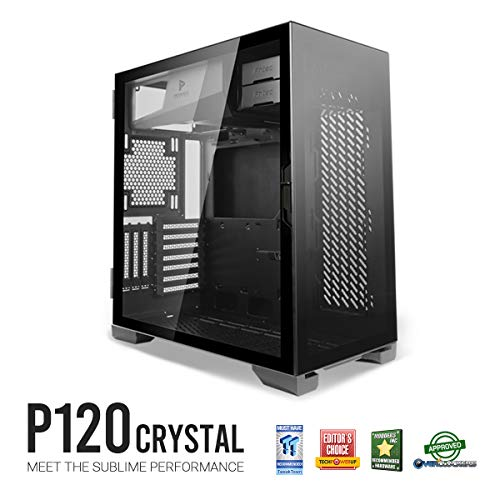 Antec Performance Series P120 Crystal E-ATX Mid-Tower Case, Tempered Glass Front & Side Panels White Led USB3.0 X 2, Aluminum Vga Holder Included – PC