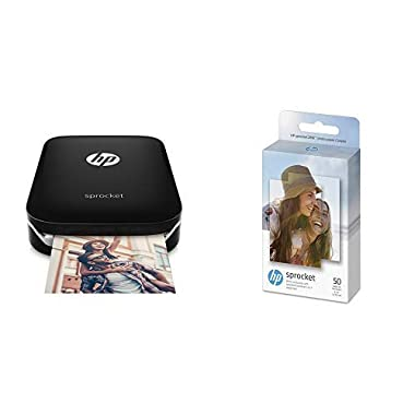 HP Sprocket Portable Photo Printer, print social media photos on 2x3 sticky-backed paper - black (X7N08A) with Photo Paper 50 Sheets (Black)