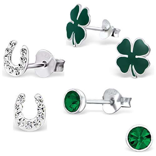 925 Sterling Silver Set of 3 Pairs Lucky Irish Set Four Leaf Clover, Crystal Horseshoe, Emerald Green Round Crystal Stud Earrings for Girls (Nickel Free)