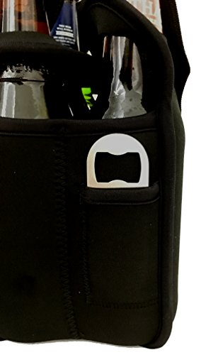 L&L Brew Works Six Pack Craft Beer Carrier, Neoprene Six Pack Caddy with Bottle Opener and Essentials Pocket