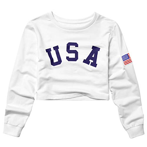 (USA Crop Sweatshirts for Teens Girls 80s 90s Cropped Tops for Women Long Sleeve)