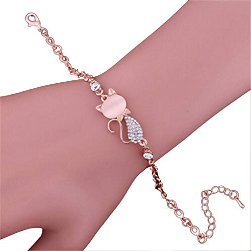 Myhouse Cute Cat Pendant Bracelet Rhinestone Alloy Bangles Charm Accessories for Women Girls