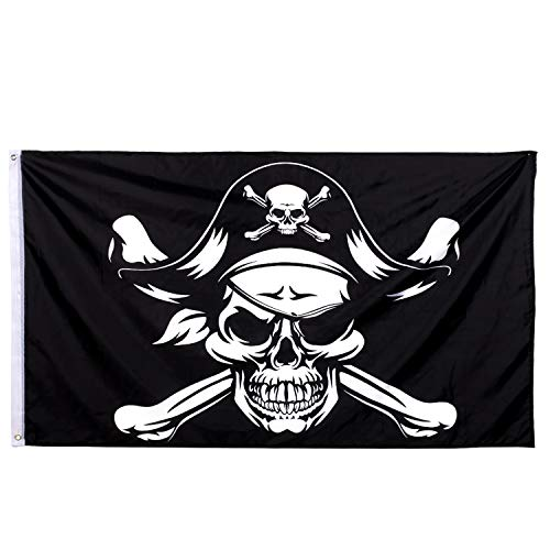 Whaline 3x5 Ft Halloween Jolly Roger Flag, Skull Pirate Flag Halloween Decoration Flags for Pirate Halloween Party Outdoor Decorations and Gifts, Vivid Color and UV Fade Resistant