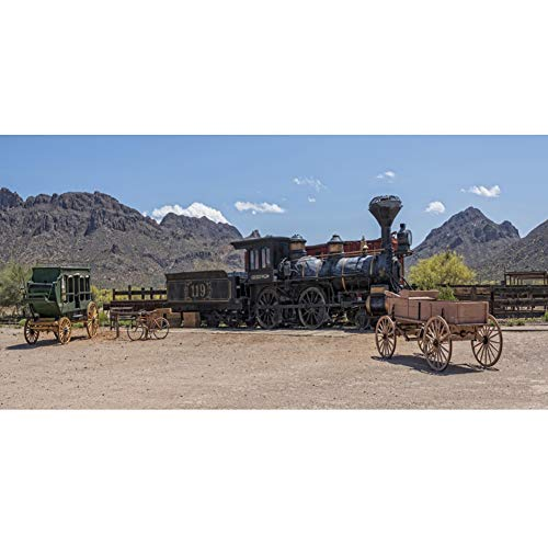 Leowefowa 12x8ft Vinyl Photography Backdrop Wild West Old Western Steam Engine Railroad Stage Coach Wagon Mountains Backdrop for Party Film Event Photo Shoot Video Studio Photo Booth Background