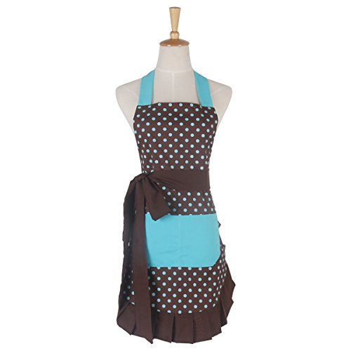 Baker Striped Tie (Apron for Women with Pockets, Extra Long Ties, G2PLUS Cotton Polka Dot Apron, Perfect for Home Kitchen Cooking, Baking and Gardening, 29 x 21 - inch (Brown Background with Blue Polka Dot))