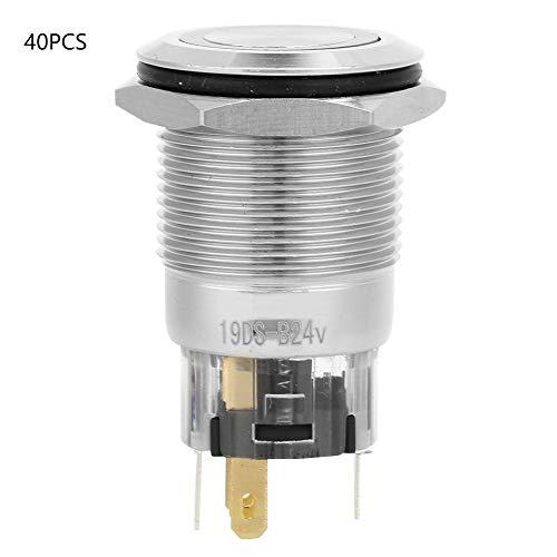 自動ロックボタンスイッチ、40個24VDC実用的なフラットリングヘッド、軽ニッケルメッキ真鍮ボタンスイッチ交換作業用の交換用アクセサリ(青い)