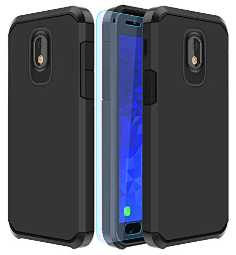 Galaxy J7 2018 Case,Galaxy J7 Aero/J7 Star/J7 Top/J7 Aura/J7 Crown/J7 Refine Case with HD Screen Protector Slinco Dual Layer Shock Proof Protective Rugged Case for Samsung Galaxy J7 2018 (Black)