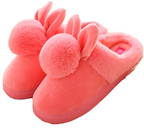 Dsmor Womens Coniglio Bunny Pantofole Pantofole Da Camera Pantofole Casa Cocomero Rosso