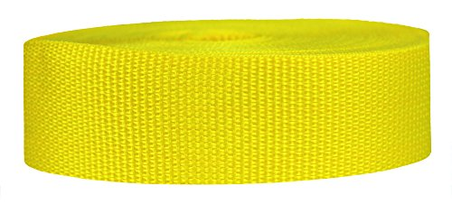 Strapworks Lightweight Polypropylene Webbing - Poly Strapping Outdoor DIY Gear Repair, Pet Collars – 1.5 Inch x 50 Yards, Yellow