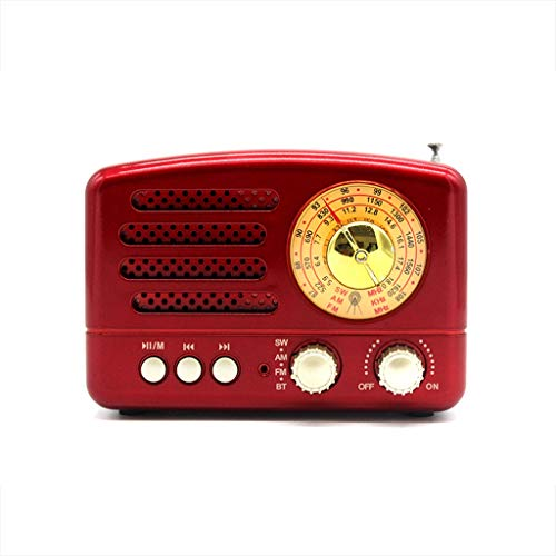 TangMengYun Retro Portable Small Radio USB Bluetooth Multi-Band Pointer Built-in Speaker Broadcast (Color : Red)