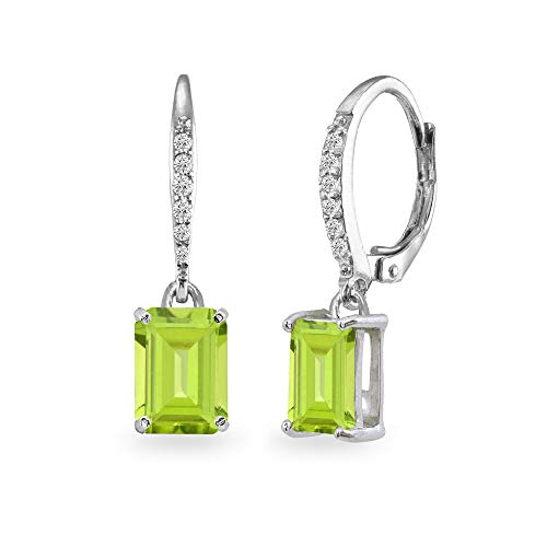 Brilliant Cut Peridot Ring - Sterling Silver Peridot & Cubic Zirconia 8x6mm Octagon-cut Polished Dangle Leverback Earrings