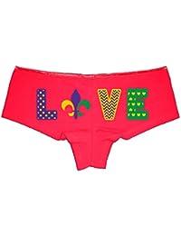 Mardi Gras Love Party Booty Shorts Boyshort Cotton Bikini Bottom Sexy Panties