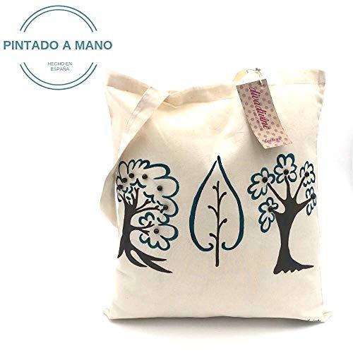 Bolso tote de algodón árboles del otoño pintados a mano: Amazon.es ...