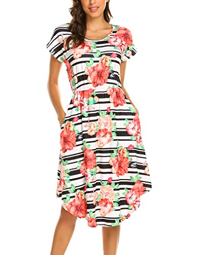 - Queensheero Women Short Sleeve Floral Round Neck Summer Casual Flared Midi Dress with Pockets Floral Black,L