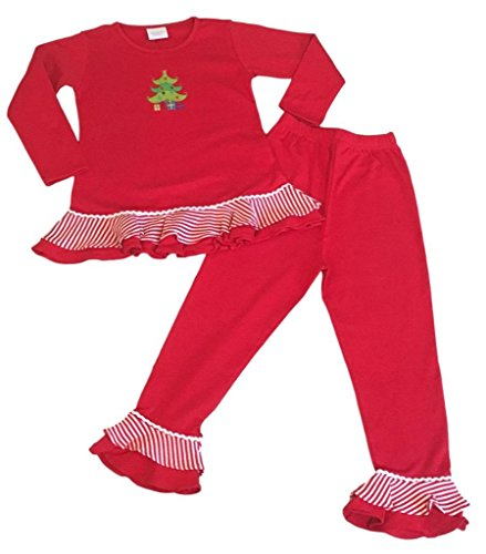 Kristin's Great Finds Exclusive Christmas Pajamas Girls 2-Pc Top Pants Ruffles Christmas Tree Applique, 24 (Exclusive Christmas Tree)