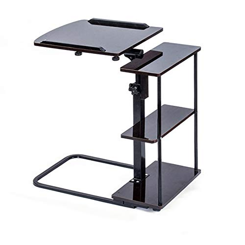 XIAOYAN End Table Folding Bedside Table Height Adjustable Laptop Table Bed Desk Multi-Functional Space Saving, Color: Black Walnut Multifunction (Color : Black -