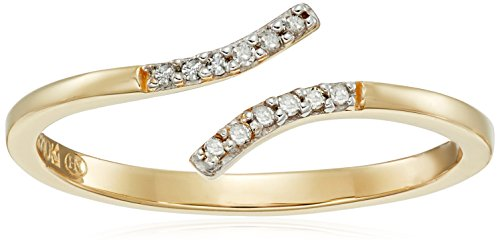 Diamond Accent Bypass Ring - 10k Yellow Gold Diamond Accent Bypass Open Ring, Size 8