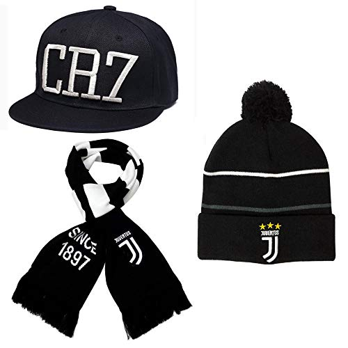 FANwenfeng Cristiano Ronaldo Sport Adjustable Flat Cap Juventus Fans Keep Warm Cuff Knit Hat and Scarf 3-Piece Suit