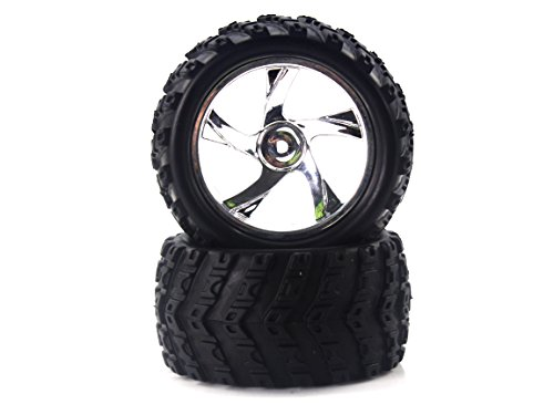 - Redcat Racing 23626V+28662 Tire and Chrome Rim for Monster Truck (2 Piece)