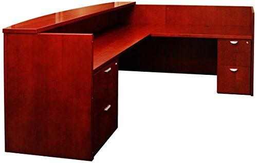 Mayline MRSRBBMC Mira Series Reception Station with Return 2 Box/Box/File, Medium Cherry Veneer - Mira Wood Box