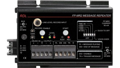 RDL FP-MR2 Message Repeater, 20 Hz to 100 kHz Frequency Response, Automatic Voice Over – Power Supply Included