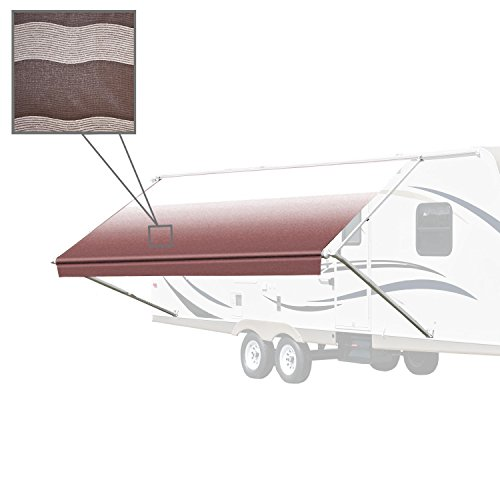 ALEKO RVAW16X8BRSTR34 Retractable RV or Home Awning 16 x 8 Feet Brown Striped (Camper Awning 16)