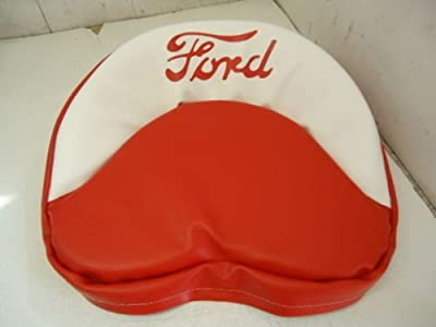 Ford 9N 2N 8N Tractor Pan Seat Cover Cushion Red and White with Red Ford Logo 19 Inches Made in the USA