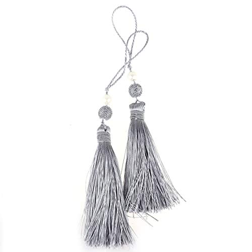 CHICTRY 2Pcs Long Tassel Craft Ornament Mini Soft Viscose Crystal Tassel Drops for Hometextile Doorknob Table Runner Sofa Cover Valance Bag Jewelry Making Accessories Grey One Size