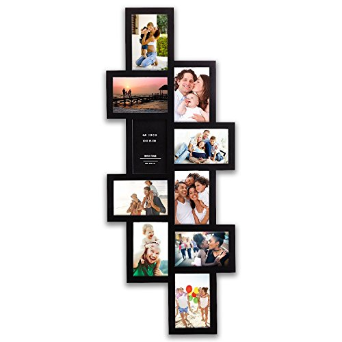 Hello Laura - 33 by 13.5'' inch Wall Hanging Photo Frame, 4 x 6'' inch Photo Sockets x 10, 10 opening Black Frame Edge | Gallery Style by Hello Laura