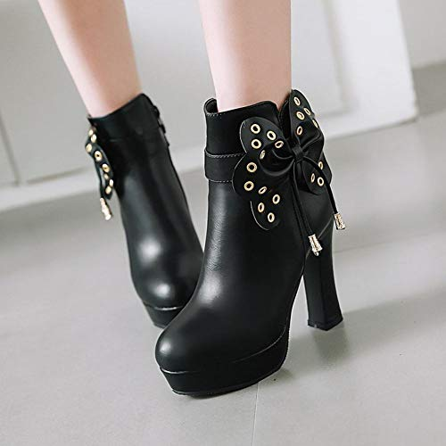 Dress Black Boots Platform Women's Fashion Bow Carolbar TZcwnqBHIZ