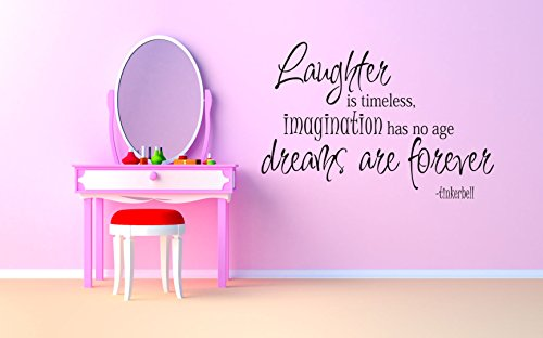 Tinkerbell Quote Phrase Wall Vinyl Sticker Fairy Tale Little Peter Pan In London Big Ben Moon Cartoon Disney Character Girl Poster Art Tinker Bell (Peter Pan Tinkerbell Pictures)