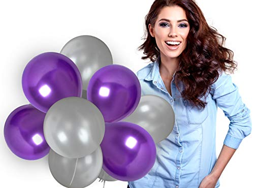 Purple And Silver Balloons 12 Inch Metallic Violet Thick Latex Balloon Bulk Pack of 72 and 65 Yards Curling Ribbons Party Supplies for Masquerade Ball Wedding Bridal Baby Shower Birthday Decorations