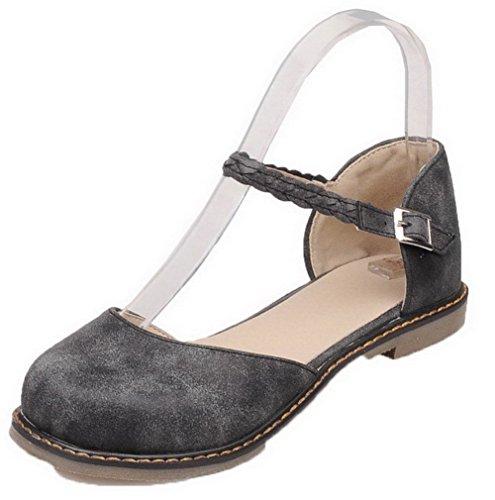 Sandales d'orteil Fermeture 39 Boucle VogueZone009 PU à Bas Noir Talon Cuir CCAFLO013264 Femme wqpnUz